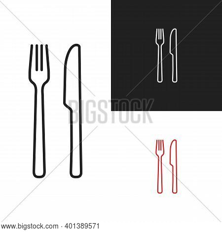 Fork Knife Icon Vector Outline Symbol Without Spoon. Thin Line Eat Cutlery Isolated On White And Bla