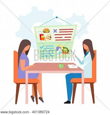 Woman Visiting Gastroenterologist Flat Vector Illustration. Female Doctor Forbidding Junk Food, Soft