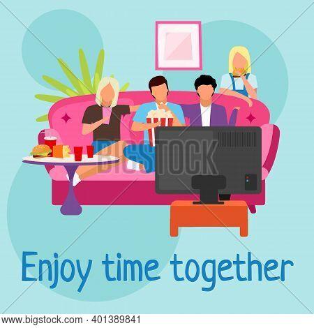 Enjoy Movie Time Together Social Media Post Mockup. Friends Pastime, Leisure. Home Cinema. Advertisi