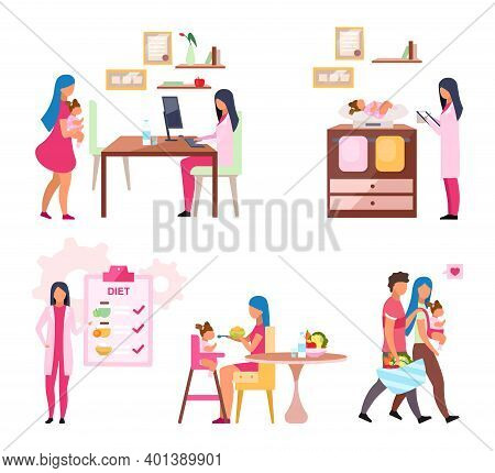 ..baby Weight Control Flat Vector Illustrations Set. Mother And Daughter Visiting Nutritionist Isola