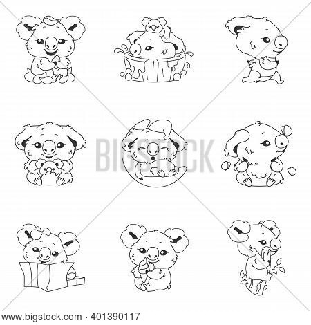Cute Koala Kawaii Linear Characters Pack. Adorable And Funny Animal Running, Bathing, Sleeping On Mo