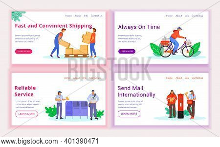 Post Service Delivery Landing Page Vector Template Set. Shipping Website Interface Idea With Flat Il