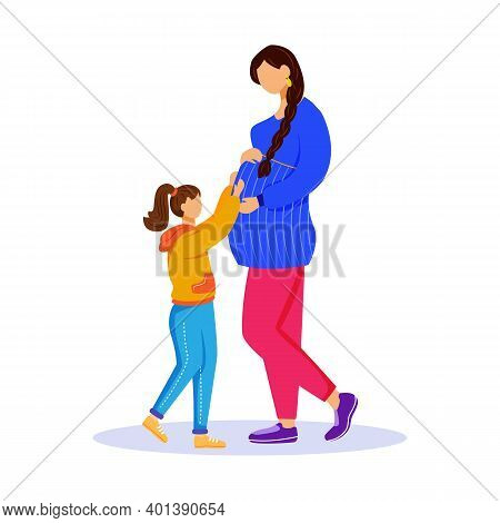 Pregnant Woman And Little Girl Flat Vector Illustration. Maternity Preparation. Happy Family Waiting