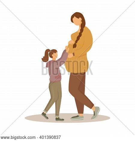 Pregnant Woman And Daughter Flat Vector Illustration. Maternity Preparation. Happy Waiting Of Baby.
