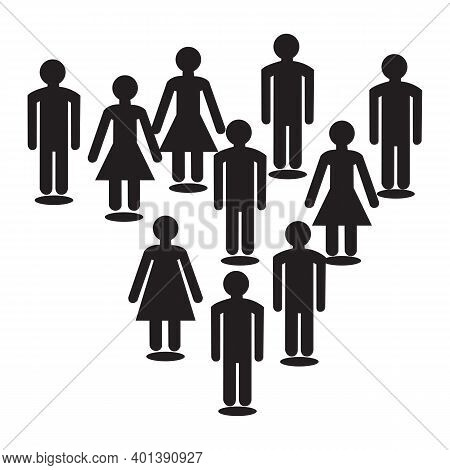 Simple Illustration Of A Group Of People. Silhouette Icon Of People Forming Group. People Line Up At