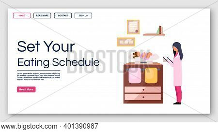 Kids Eating Schedule Landing Page Vector Template. Childcare Website Interface Idea With Flat Illust