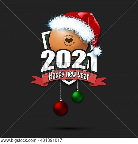 Happy New Year 2021. Ping-pong Ball In Santa Hat