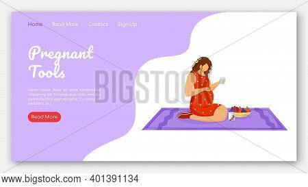 Pregnant Tools Landing Page Vector Template. Therapy And Healthy Nutrition Website Interface Idea Wi