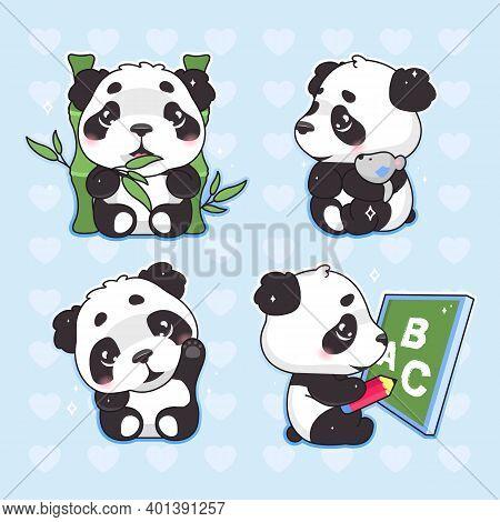 Cute Panda Kawaii Cartoon Vector Characters Set. Adorable, Happy And Funny Animal Eating Bamboo, Wav