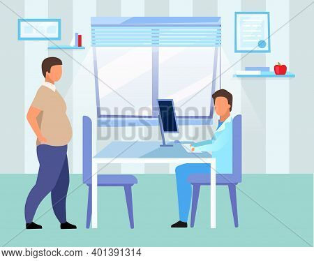 Obese Man Visiting Doctor Flat Vector Illustration. Overweight Adult Consulting Nutritionist Cartoon