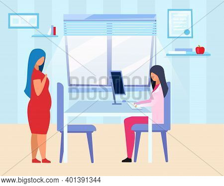 Pregnant Woman Visiting Doctor Flat Vector Illustration. Expectant Lady Consulting Gynecologist Cart