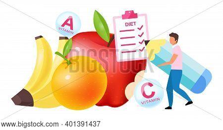 Fruits In Diet Plan Flat Vector Illustration. Man Choosing Vitamin Containing Bananas, Apples, Orang