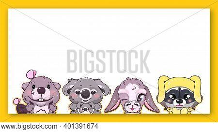 Cute Animals Kawaii Characters Vector Frame. Anime Baby Koala, Blinking Donkey, Raccoon, Smiling Bea