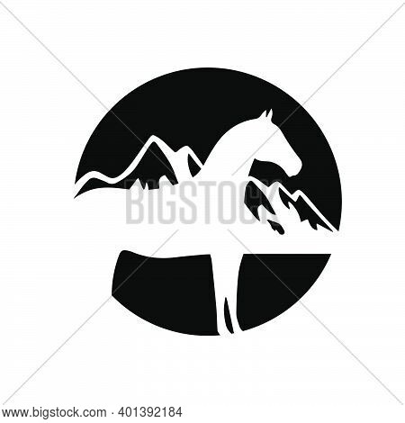 Mountain And Horse Logo Design Pride And Beauty Sign Symbol Vector Illustration