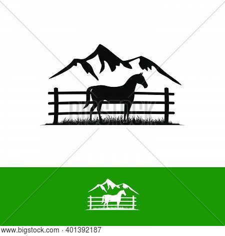 Simple Line Horse Logo Design In The Cage And Mountain Silhoutte Background Sign Symbol Vector Illus