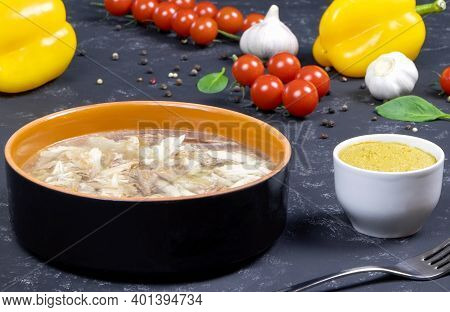 Fresh Vegetables. Headcheese With Mustard.the National Dish Of Russian, Ukraine And Belarus. .jelly.