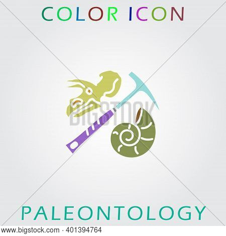 Color Icon Of Paleontology And Geology. Premium Quality Color Symbol Collection.