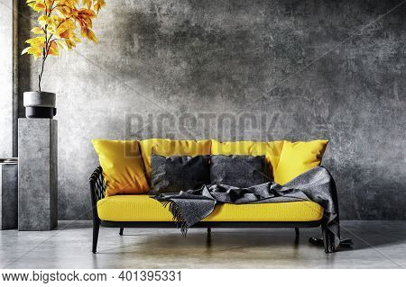 Home Interior In Colors Of The Year 2021, Yellow Sofa Near Concrete Wall In Loft Interior, 3d Illust