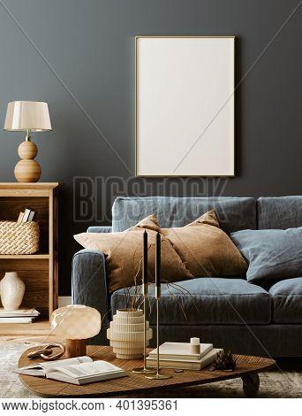 Poster Mockup In Modern Dark Interior Background, 3d Illustration