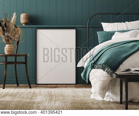 Mockup Frame In Cozy Dark Blue Bedroom Interior Background, Farmhouse Style, 3d Illustration