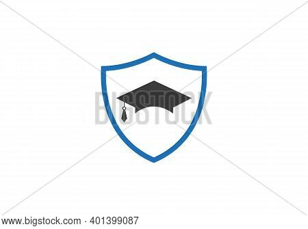 Graduation Hat Cap Flat Icon With Shield. Graduation University Square Cap Icon Isolated