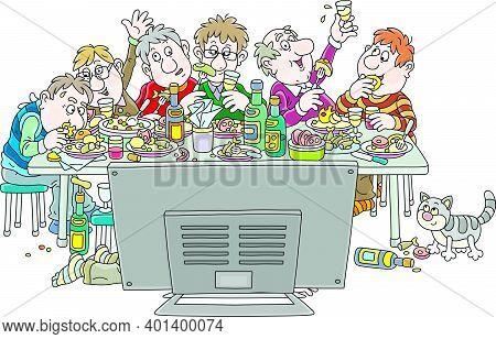 Friendly Party At A Tv Set, Joyous Celebration With Funny, Noisy And Slightly Drunk Friends At Festi