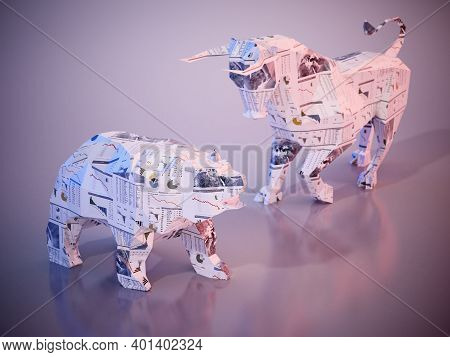 Financial Numbers And Charts On Low Poly Bull And Bear. 3d Illustration.