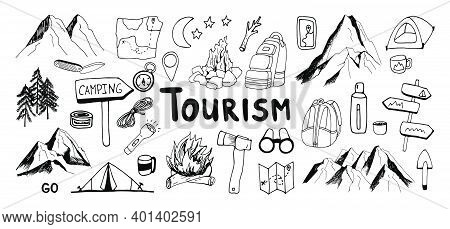 Huge Hand Drawn Vector Camping And Mountain Clip Art Set. Isolated On White Background Drawing For P