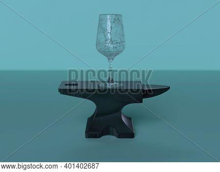 Broken Wine Glass On The Top Of Anvil