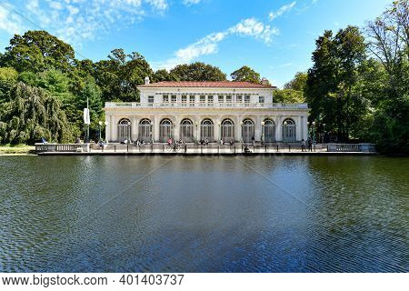 Brooklyn, New York - Sep 20, 2020: Historic Boathouse On Lake At Prospect Park In Brooklyn, Nyc, Bui
