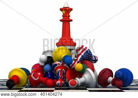 The Dominance Of China In Geopolitics. Chess Figure - King In China Flag Colors On The Top Of A Pile