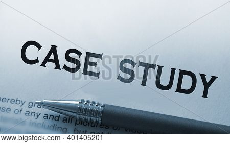 Words Case Study And Luxury Pen. Business Successful Examples Concept.
