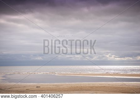 Baltic Sea Shore In Latvia. Typical Baltic Seascape At Sunset