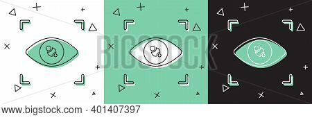 Set Eye Scan Icon Isolated On White And Green, Black Background. Scanning Eye. Security Check Symbol
