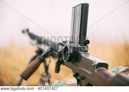 German Wehrmacht Infantry Soldiers Military Weapon Of World War Ii. The Zb-30 Czechoslovakian Light
