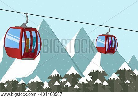 Ski Lift Gondola With Skis And Snowboard Above The Mountains Peak In The Alps. Extreme Tourist Backg
