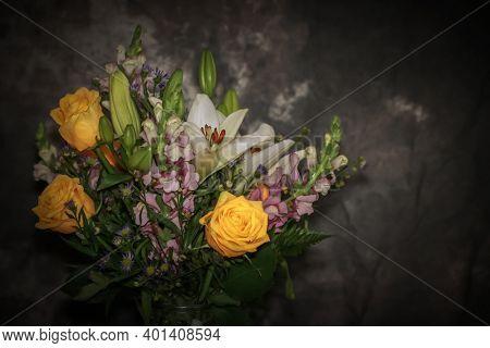 Close up shot of natural flower vase on grey background