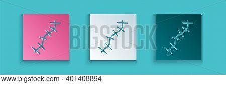 Paper Cut Scar With Suture Icon Isolated On Blue Background. Paper Art Style. Vector
