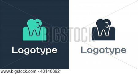 Logotype Tooth With Caries Icon Isolated On White Background. Tooth Decay. Logo Design Template Elem