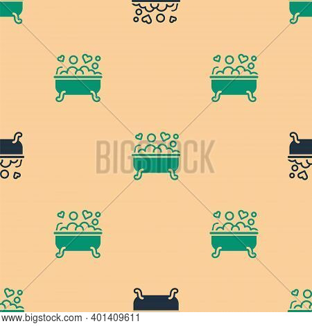 Green And Black Romantic In Bathroom Icon Isolated Seamless Pattern On Beige Background. Concept Rom
