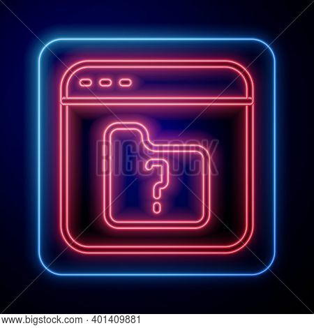 Glowing Neon File Missing Icon Isolated On Blue Background. Vector