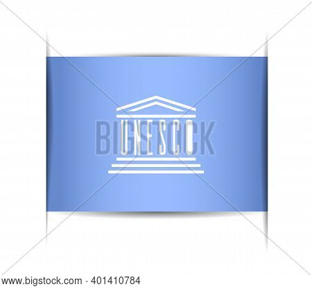 Flag Of The Unesco. Vector Illustration Of A Stylized Flag. The Slit In The Paper With Shadows. Elem