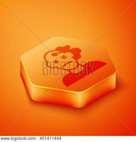 Isometric Murder Icon Isolated On Orange Background. Body, Bleeding, Corpse, Bleeding Icon. Concept