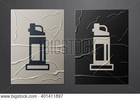 White Pepper Spray Icon Isolated On Crumpled Paper Background. Oc Gas. Capsicum Self Defense Aerosol