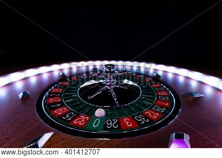 Roulette wheel close up at the Casino - Selective Focus