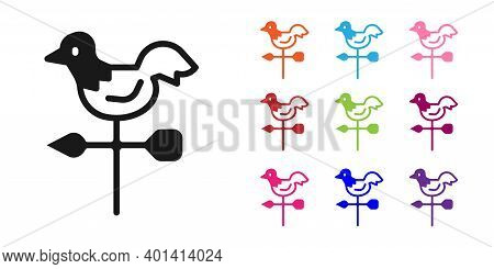 Black Rooster Weather Vane Icon Isolated On White Background. Weathercock Sign. Windvane Rooster. Se