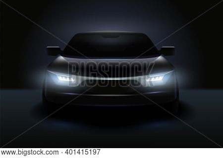 Car Headlights Realistic Composition Stylish Black Car With Headlights Shining In The Dark Vector Il