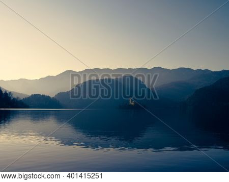 sunrise over the lake, Bled, Slovenia