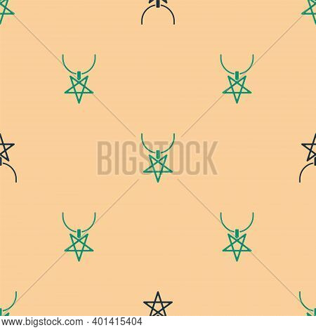 Green And Black Pentagram On Necklace Icon Isolated Seamless Pattern On Beige Background. Magic Occu