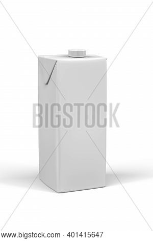 Carton Box Mockup For Drinks - Liter Carton Of Milk Or Juice Isolated On White Background - 3d Rende